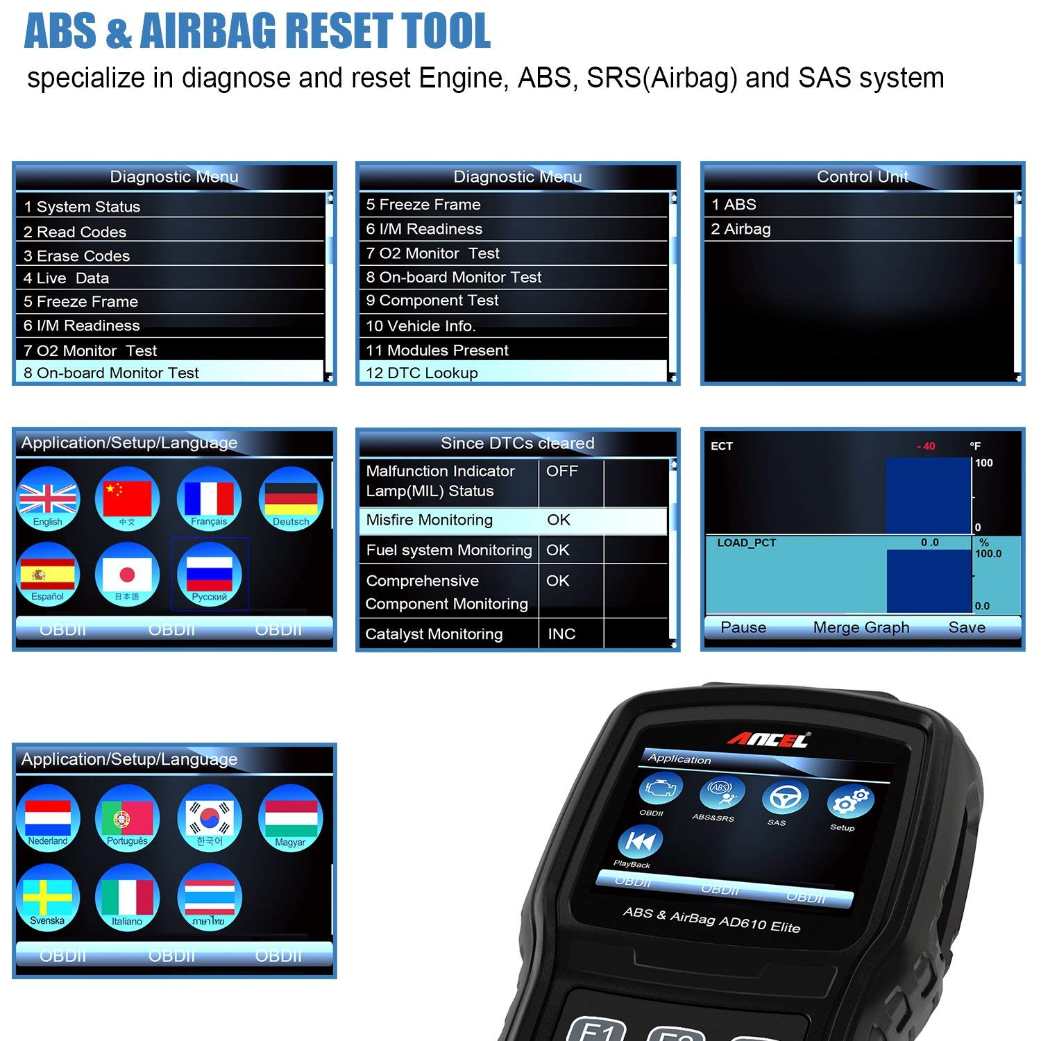 ANCEL AD610 Elite Automotive OBD II Car ABS SRS Scanner